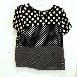 Talbots black and white polka dot top
